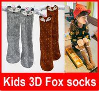 Wholesale baby knee high fox socks animal baby leg warmers girl legging socks knee pads for baby cotton kids long socks