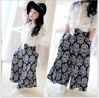 Wholesale NEW kids Wide leg pants girl Children girls casual pants Bohemia loose trousters summer A9
