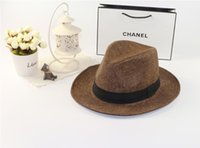 Cheap 2015 Hot Sale Summer hats Trendy Unisex Fedora Trilby Gangster Cap For Women Summer Beach Sun Straw Panama Hat Men Fashion Cool Hats Retail