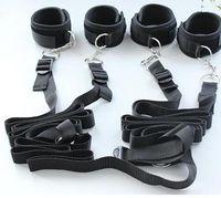 Cheap Couple Bed Restraint System Honeymoon Bondage Handcuffs Leg cuffs BDSM Slave Femdom Wrist Ankle Restraint Belt Adult Sex Toys for lovers