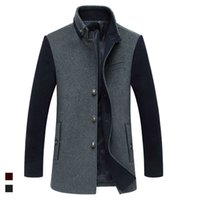 wool fabric coat - Fall Plus Size Mens Winter Wool Jackets Fashion Patchwork Fabric Warm Thickness Male Coat For Outdoor Clothing Manteau Long Homme