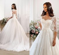 Wholesale 2015 Vintage Modest Lace Wedding Dresses With Half Sleeves Cheap Sheer Neck And Back White Dress Wedding Long Plus Size Custom Bridal Gowns