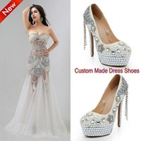 Wholesale 2015 Handmade Luxury Women Pageant Evening Party Performance Dress Shoes Sparkling Bling Bling Pearl Crystal Rhinestone Wedding Bridal Shoes