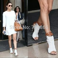 ankle strappy sandals - Name brand stylish white brown contrast color gladiator sandals celebrity cut out ankle strappy party shoes peep toe high heels