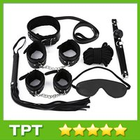 Wholesale 7 for A Set Sex Bondage Restraint Kit PU Slave Wrist Ankle Cuffs Collar Whip Rope Blindfold Mouth Ball Gag Toys C1001