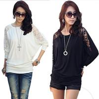 korea fashion blouse - Women s Blouse Dolman Batwing Sleeve T Shirt Korea New Fashion Loose Tops round neck Cotton Lace Cheap