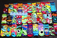 Wholesale Harajuku Vintage Monsters University Big Eye Road Batman spider man STITCH cartoon Cotton sports socks women socks