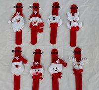 santa ornament - Santa Claus Snowman toy slap pat circle Bracelet Wristhand christmas tree decoration ornament for Christmas gift Xmas IN STOCK H442