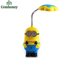 Wholesale New Baby Boys Girls Despicable Me Flexible Table Lamp Kids Cute Minions Folding Mini Lamps Children LED Eyeshield Night Light