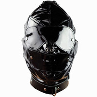 Slave Lumineux muselières Hoods en cuir Masque amovible Mouth Gag Goggles Fetish Fantasy Sex produit pour adulte Appuie-tête BDSM Bondage