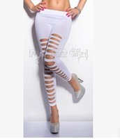 Wholesale Slashed Stretch Pants - Wholesale-2015 newest VC same design slash Sexy ripped slash stretch cut out torn punk intersect straps leggings pants