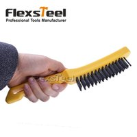 Wholesale Flexsteel Hand Tools Steel Wire Scratch Brush with Curved PP Handle for Cleaning Light Scrubbing