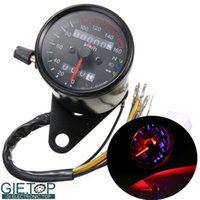 Wholesale DC V Motorcycle Retro Modification Universal Odometer Instrument Dual LED Backlight Night Readable Speedometer Gauge Panel