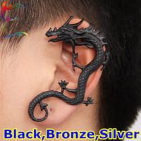 Wholesale Fashion Vintage dragon clip earring Black Bronze Silver tatoo puncture PUNK earcuff rock ear cuff jewelry