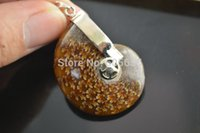 ammolite stone - Two faces Smooth High Polished Shiny Ammolite Fossil Stone Pendant fit Fashion jewelry making