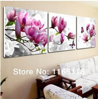 Cheap 3 Piece Free Shipping Cheap abstract Modern Wall Painting purple pink flower Home Decorative Art Picture Paint on Canvas Prints