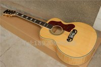 Wholesale J200 Acoustic electric guitar Custom Tiger Flame Back Side Neck AAA Solid Spruce Top Guitars China
