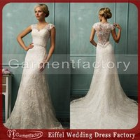 Wholesale Amelia Sposa Wedding Dresses Vintage A line Slight V Neck Court Train Short Court Sleeves Illusion Back Pearls Beaded Lace Bridal Gowns