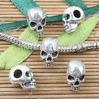 beads units - JTLskull head loose beads in tibetan silver color and dark gold color to Pick pc one unit