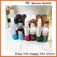Wholesale 24PCS lovely cartoon doll Makeup Lipstick Tools Lip Balm For Lip Care H1053