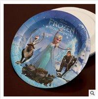 Wholesale Frozen movie kids happy birthday party round fruit plate cake paper plate decoration supplies Dessert plare frozenc1641