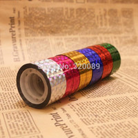 Wholesale Rolls Prism Hoop Holographic Tape Hula Tapes Gift Packing Adhesive Sticky12mmx15y roll COLORS ship to worldwide