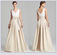 aidan mattox - Maxi Bridesmaid Dresses Two Toned Inspired by Aidan Mattox A Line Satin V Neck Floor Length Long Prom Dresses XS