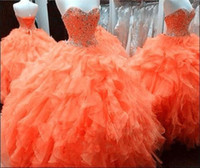 Real Photos awesome prom dresses - Awesome Orange Quinceanera Dresses Real Image Masquerade Party Prom Gowns for Sweet Years Sweetheart Crystal Girls Formal Dress