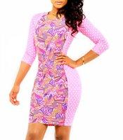 Cheap 9011 Sassy Floral Print Fashion Dress Elegant Women Bodycon Dress Club Sexy Celebrity Party Bandage Dress Midi Dress