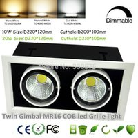 Wholesale Twin Gimbal W W COB led MR16 Grille light Double head MR16 Bean Pot Light COB W W Dimmable Non dimmable