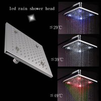 Cheap 8 inch overhead shower 62 brass temperature sensing 3 colors(blue,green,red) led shower head