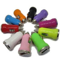 Wholesale 11 Colorful Bullet Mini USB Car Charger V mA Universal Adapter for iphone S Cell Phone PDA MP3 MP4 player mobile i9500 s3 m7 l36h