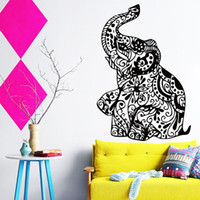 abstract flower tattoos - portfolio stickers cheap home decoration vinyl Art flower elephant wall sticker removable PVC house decor creative tattoo animal decal