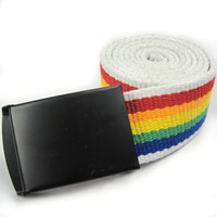 belt buckle supply - 2016 Rainbow canvas belt for gay and Lesbian pride LGBT supplies cheap price