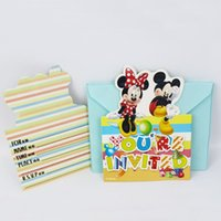 baby girl invitations - Diseny Mickey Minnie Mouse Movie Kid Boy Girl Baby Birthday Party Decoration Kits Supplies Favors Invitation Cards