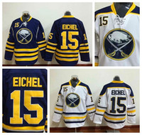 blue buffalo - Cheap Men Buffalo Sabres Jack Eichel Jersey nhl Team Blue Away White Yellow Stitched Eichel Ice Hockey Jerseys fashion