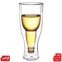 upside down beer bottle style glass wine cup,beer cup - Kitchen Upside Down Beer Bottle Style Double Walled Beer Glass Double wall high borosilicate glass made wine cup For Bar