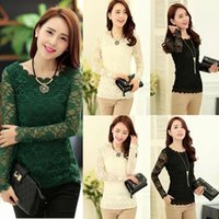 Cheap 2015 Fashion OL Lace Women Blouse Floral Collar Crochet Emboriey Tops Long Sleeve Shirt Casual Blouse M,L,XL,XXL Freeshipping