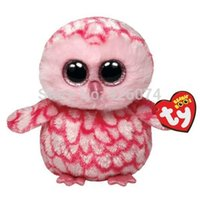 bear barn - Original TY Beanie Boos Big Eyed Pinky Pink Barn Owl Plush Toys Kawaii Stuffed Animals Toys For Children Gifts Kids Toys CM