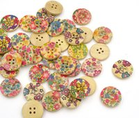 Wholesale Flower Pattern Wooden Buttons Mixed Sewing Accessories For Crafts Botones De Madera mm Button Wood Holes Bouton Couture pc
