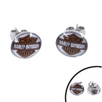 Cheap Free Shipping! Enamel Letters Biker Earrings Studs Stainless Steel Jewelry Fashion Motor Biker Men Women Earring SJE0008