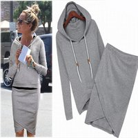 line sets - New Style Skirt Outfits Women And Big Girl s Hoodie Top With A line Skirt Set Leisure Suit Size S M L XL Can Choose