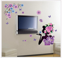 background beauty - bedroom decoration Factory wall stickers flower painting beauty woman background decorative wall stickers TV wall MJ9011