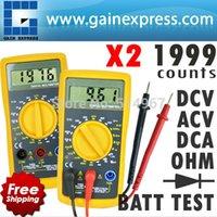 Wholesale 2 pieces x Digital Multimeter AC DC Voltage DC Current Resistance Diode Battery Test Tester w Reading