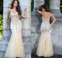 Wholesale Luxury Beads Mermaid Tulle Prom Dresses Sweetheart Sheer Corset Back Zipper Floor Length Charming Formal Evening Pageant Dress