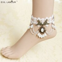 best beach accessories - Best Sale Feet Jewelry Handmade Bohemian Boho Bridal Accessories Lace and Pearls Anklets Vintage Beach Summer Wedding Jewelry Cheap