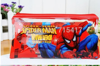 Wholesale 6 X PVC Transparent Spiderman Pencil sets case stationery School Exam Pencils Bag