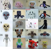 creepers - 19 Design Minecraft Plush dolls toys NEW Minecraft JJ creeper Soft Stuffed Plush Toys Zombie Skeleton Spider Bat Craft Wolf Ghast Cow B001