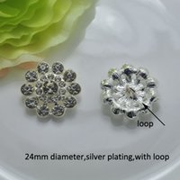 Wholesale J0201 mm metal rhinestone button silver plating with loop at back