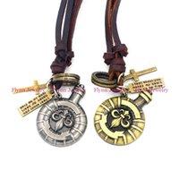 bats leather necklace - 2015 Bat Racket Accessories Metal Pendant Amulet Adjustable Leather Necklace Punk Cowboy Decorations Gift